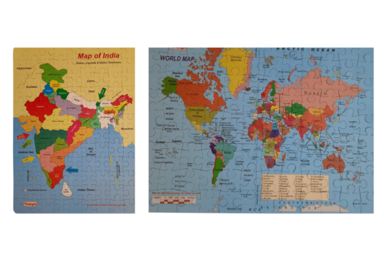 India + World Wooden Puzzle Game