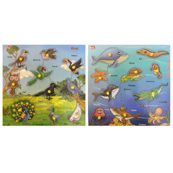 Birds wooden puzzle + water animals puzzle combo